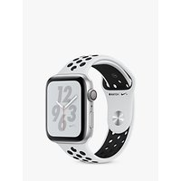 Apple Watch Series 4, GPS, 44mm Platinum Aluminium Case with Nike Sport Band, Black
