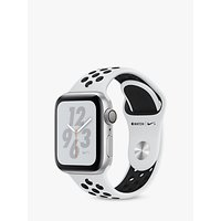 Apple Watch Series 4, GPS, 40mm Platinum Aluminium Case with Nike Sport Band, White/Black