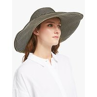 John Lewis and Partners Packable Stripe Floppy Sun Hat, Black Mix