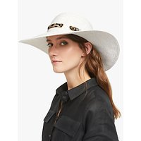 Collection WEEKEND by John Lewis Glam Leopard Print Ribbon Floppy Hat, White/Gold