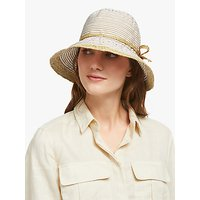 John Lewis and Partners Packable Straw Trim Summer Hat, Beige Mix