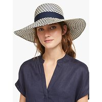 John Lewis and Partners Textured Navy Bow Floppy Sun Hat, Navy Mix