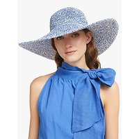 John Lewis and Partners Packable Weave Mix Floppy Sun Hat, Blue Mix