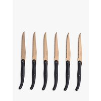 Laguiole by Jean Dubost Copper and Black Steak Knives, 6 Piece
