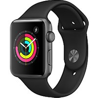 Apple Watch Series 3, GPS, 42mm Space Grey Aluminium Case with Sport Band, Black