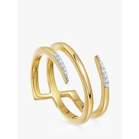 shop for Missoma Cubic Zirconia Pave Claw Lacuna Ring, Gold at Shopo