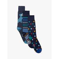 Paul Smith Stripe Dot Dinosaur Socks, One Size, Blue