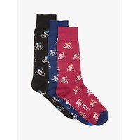 Paul Smith Rabbit Bicycle Socks, Pack of 3, One Size, Multi