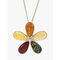 shop for Be-Jewelled Amber Flower Pendant Necklace, Multi at Shopo