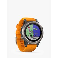 Garmin fēnix 5 Plus Sapphire GPS Multisport Watch, Titanium with Solar Flare Orange Band