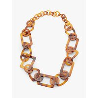John Lewis & Partners Resin Chain Statement Necklace, Tortoise