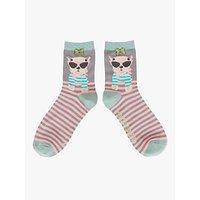 Powder French Westie Dog and Stripe Ankle Socks, Slate/Multi