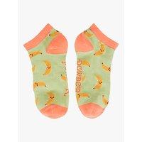 Powder Banana Print Trainer Socks, Lime Green/Orange