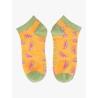 Powder Watermelon Print Trainer Socks, Mustard/Multi
