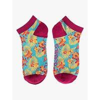 Powder Bold Floral Trainer Socks, Aqua/Multi