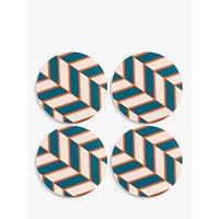 House by John Lewis Chevron Coasters, Set of 4, Multi