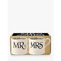 Emma Bridgewater Black Toast Mr and Mrs Mug, Set of 2, Black/White, 284ml