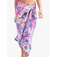 Joules Sirena Floral Cotton Sarong, Soft Pink/Multi