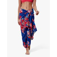 Joules Sirena Floral Cotton Sarong, Royal Blue/Multi