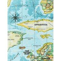 Prestigious Textiles World Maps Furnishing Fabric, Azure