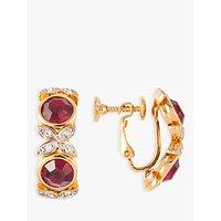 shop for Susan Caplan Vintage D'Orlan 22ct Gold Plated Swarovski Crystal Clip-On Hoop Earrings, Gold/Multi at Shopo