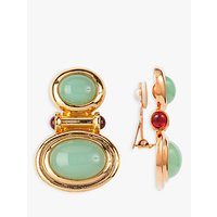 shop for Susan Caplan Vintage Elizabeth Taylor 22ct Gold Plated Cabochon and Swarovski Crystal Clip-On Earrings, Gold/Green at Shopo