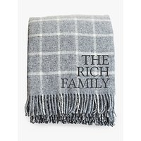 Jonny's Sister Personalised Check Wool Throw, Grey
