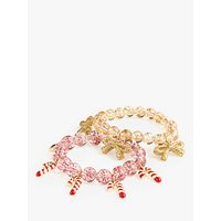 crewcuts by J.Crew Children's Candy Cane Bracelet, Pack of 2, Red/Gold