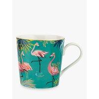 Sara Miller Tropics Flamingo Mug, 340ml, Green/Multi
