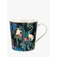 Sara Miller Tropics Lemur Mug, 340ml, Black/Multi