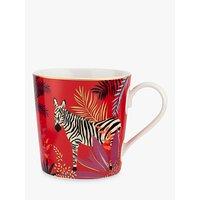 Sara Miller Tropics Zebra Mug, 340ml, Red/Multi
