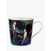Sara Miller Tropics Parrot Mug, 340ml, Black/Multi