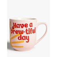 John Lewis & Partners Brew-Tiful Day Mug, 330ml, Yellow/Multi