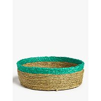 Gone Rural Woven Grass Bread Basket, Turquoise/Natural