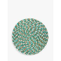 Gone Rural Woven Grass Flecked Placemat, 28cm, Turquoise/White