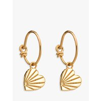 Rachel Jackson London Textured Heart Hoop Earrings, Gold