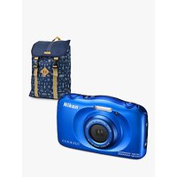 Nikon COOLPIX W100 Waterproof Digital Camera, 13.2MP, HD 1080p, 3x Optical Zoom, Bluetooth & 2.7 LCD Screen with Backpack, Blue