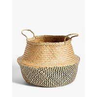 John Lewis and Partners Fusion Black Patterned Seagrass Storage Basket