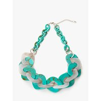 Image of One Button Interlink Hoop Statement Necklace, Aqua/Grey