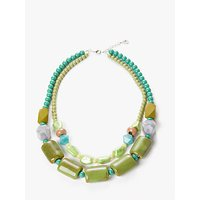 Image of One Button Double Layer Ceramic Bead Necklace, Green/Multi