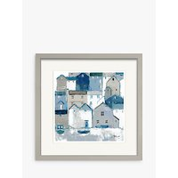 Sabrina Roscino - Indigo Cottages Framed Print & Mount, 32 x 32cm, Blue/Multi