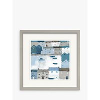Sabrina Roscino - Chambray Cottages Framed Print & Mount, 32 x 32cm, Blue/Multi