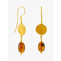 shop for Be-Jewelled Baltic Amber Antique Coins Drop Earrings, Gold/Cognac at Shopo