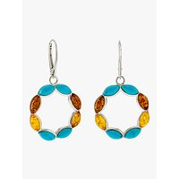 shop for Be-Jewelled Turquoise and Amber Circle Drop Earrings, Silver/Multi at Shopo
