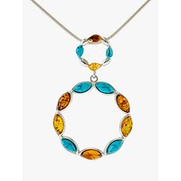 shop for Be-Jewelled Turquoise and Amber Circle Pendant Necklace, Silver/Multi at Shopo