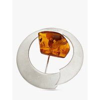 Be-jewelled Brushed Baltic Amber Round Brooch, Silver/cognac