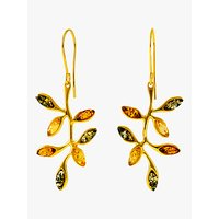 shop for Be-Jewelled Baltic Amber Autumn Leaf Drop Earrings, Gold/Multi at Shopo