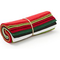 Habico Mixed Felt Fabric, Pack of 10, Red/Green