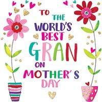 Rachel Ellen Best Gran Flower Pots Mother's Day Card