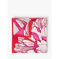 John Lewis and Partners Luna Floral Print Square Silk Scarf, Red/Multi